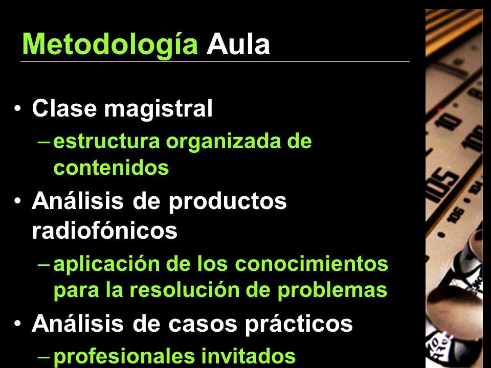 Metodología Aula Clase magistral Análisis de productos radiofónicos