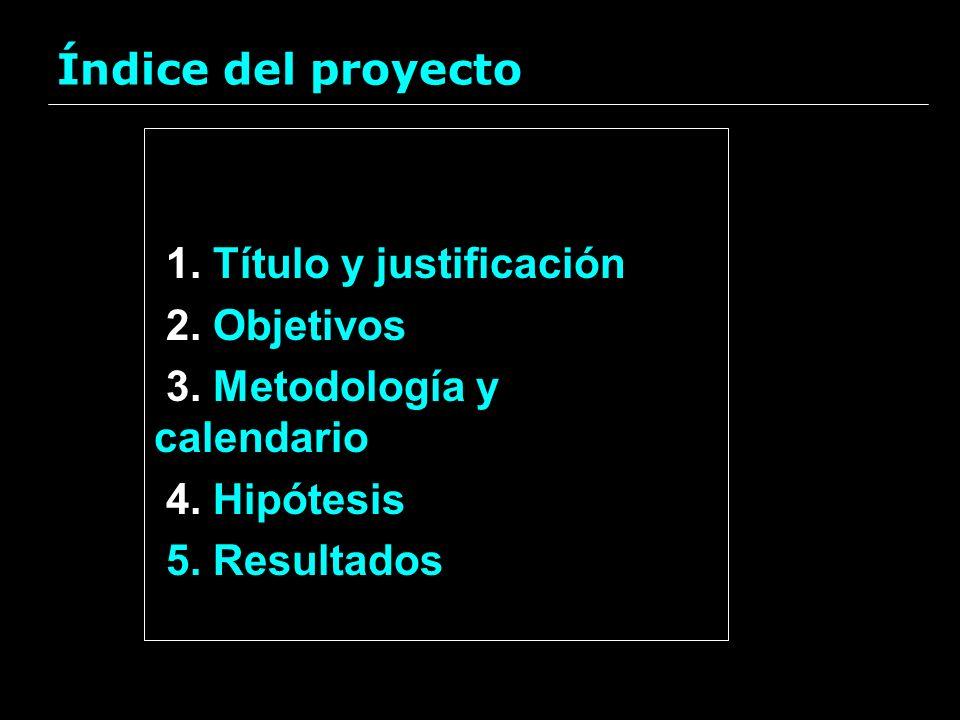 Índice del proyecto1. Título y justificación. 2. Objetivos. 3. Metodología y calendario. 4. Hipótesis.