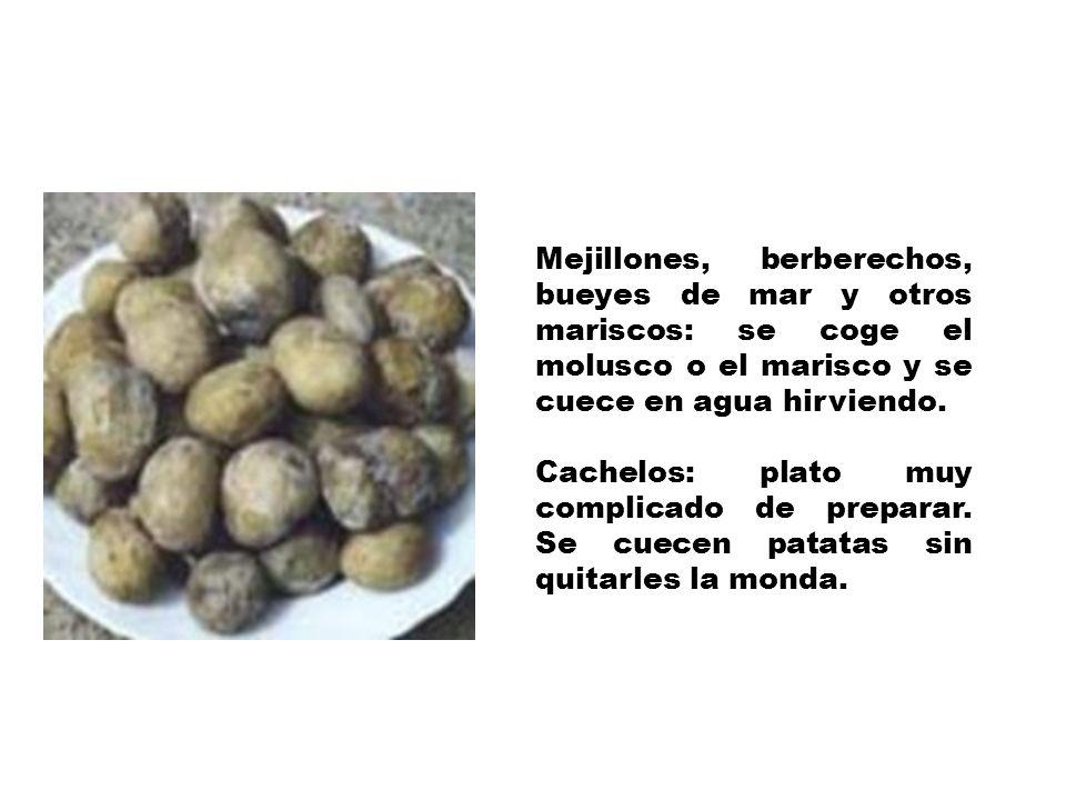 Mejillones, berberechos, bueyes de mar y otros mariscos: se coge el molusco o el marisco y se cuece en agua hirviendo.