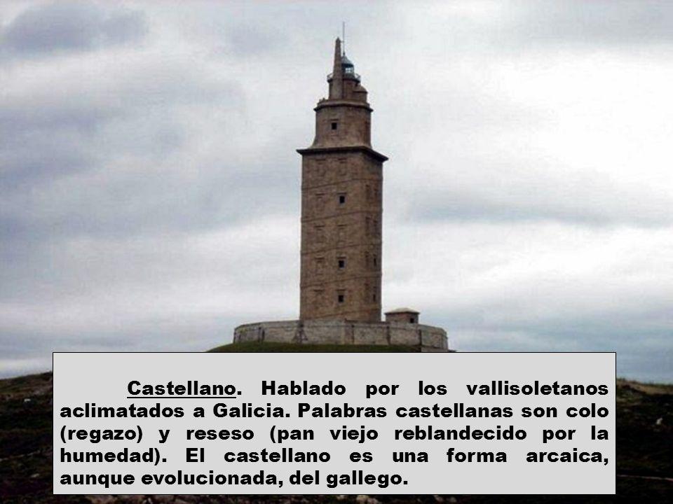 Castellano. Hablado por los vallisoletanos aclimatados a Galicia