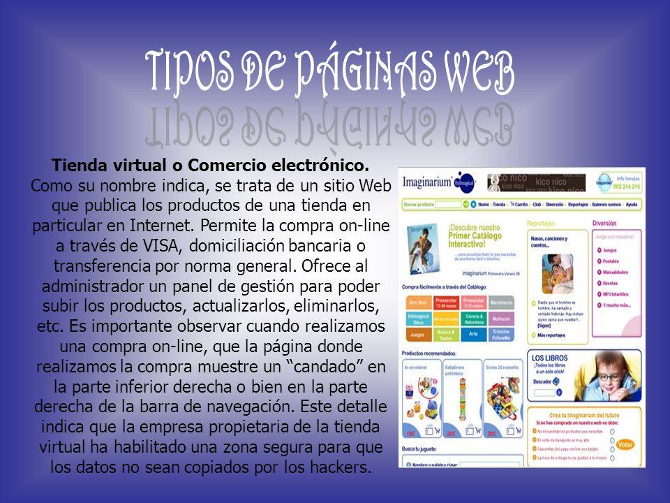Tienda virtual o Comercio electrónico.
