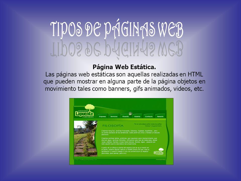 TIPOS DE PÁGINAS WEB Página Web Estática.