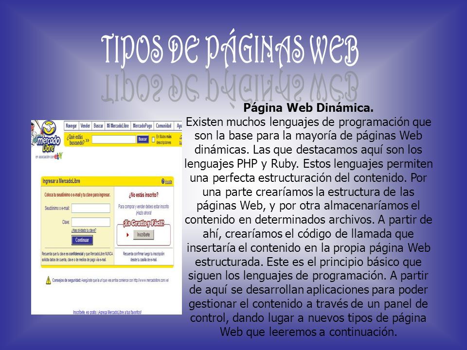 TIPOS DE PÁGINAS WEB Página Web Dinámica.