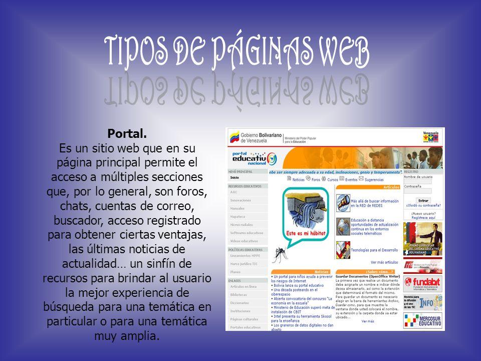 TIPOS DE PÁGINAS WEB Portal.