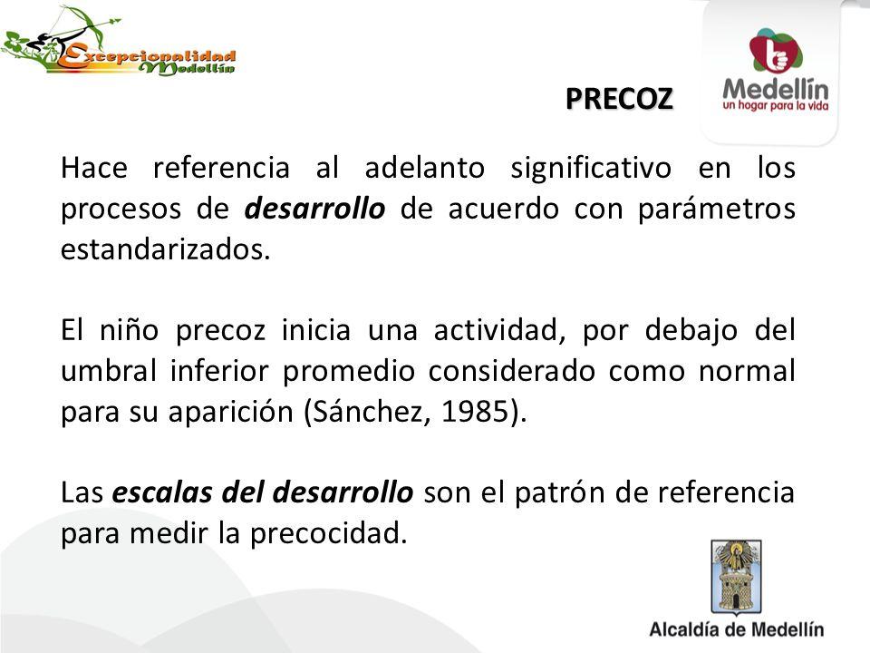 PRECOZ Hace referencia al adelanto significativo en los procesos de desarrollo de acuerdo con parámetros estandarizados.