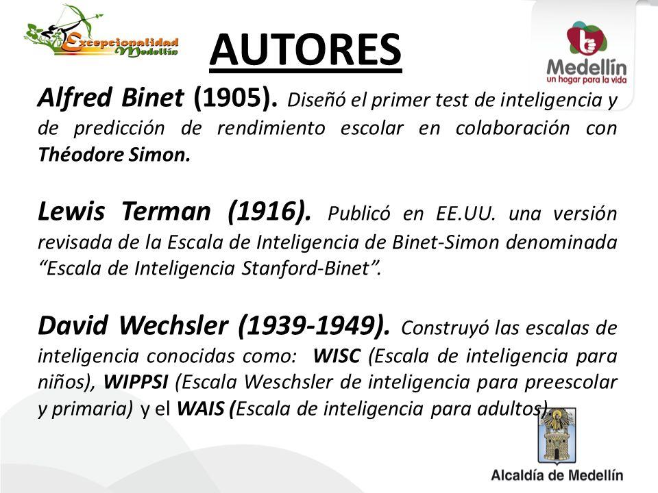 AUTORES Alfred Binet (1905). Diseñó el primer test de inteligencia y de predicción de rendimiento escolar en colaboración con Théodore Simon.
