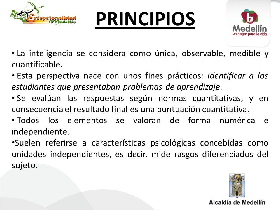 PRINCIPIOS La inteligencia se considera como única, observable, medible y cuantificable.