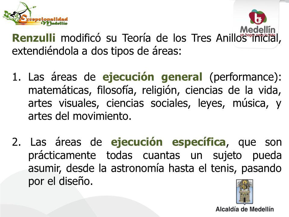 Renzulli modificó su Teoría de los Tres Anillos inicial, extendiéndola a dos tipos de áreas: