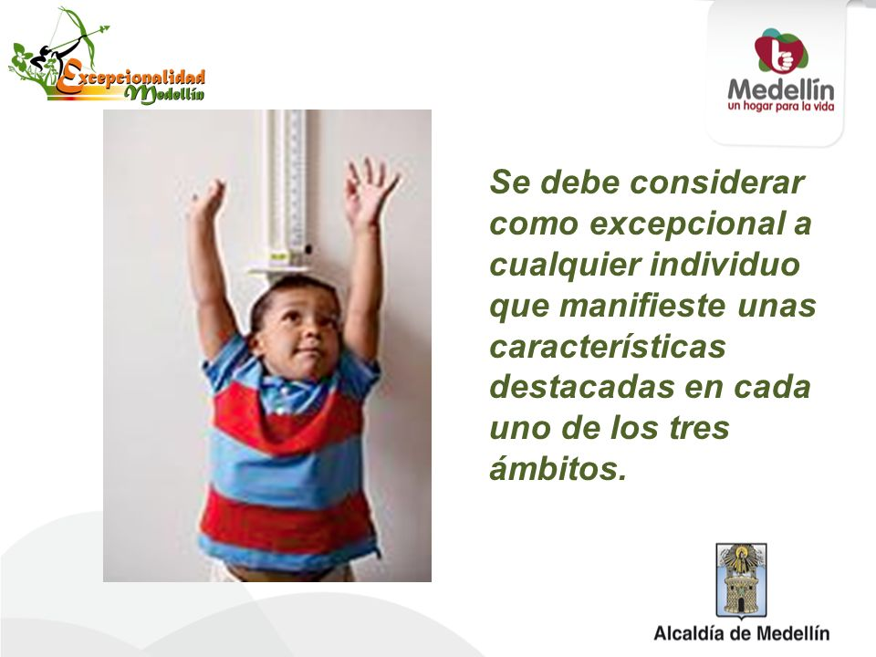 Se debe considerar como excepcional a cualquier individuo que manifieste unas características destacadas en cada uno de los tres ámbitos.