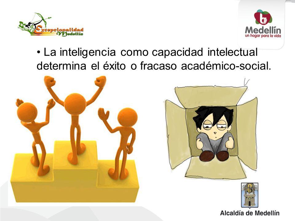 La inteligencia como capacidad intelectual determina el éxito o fracaso académico-social.
