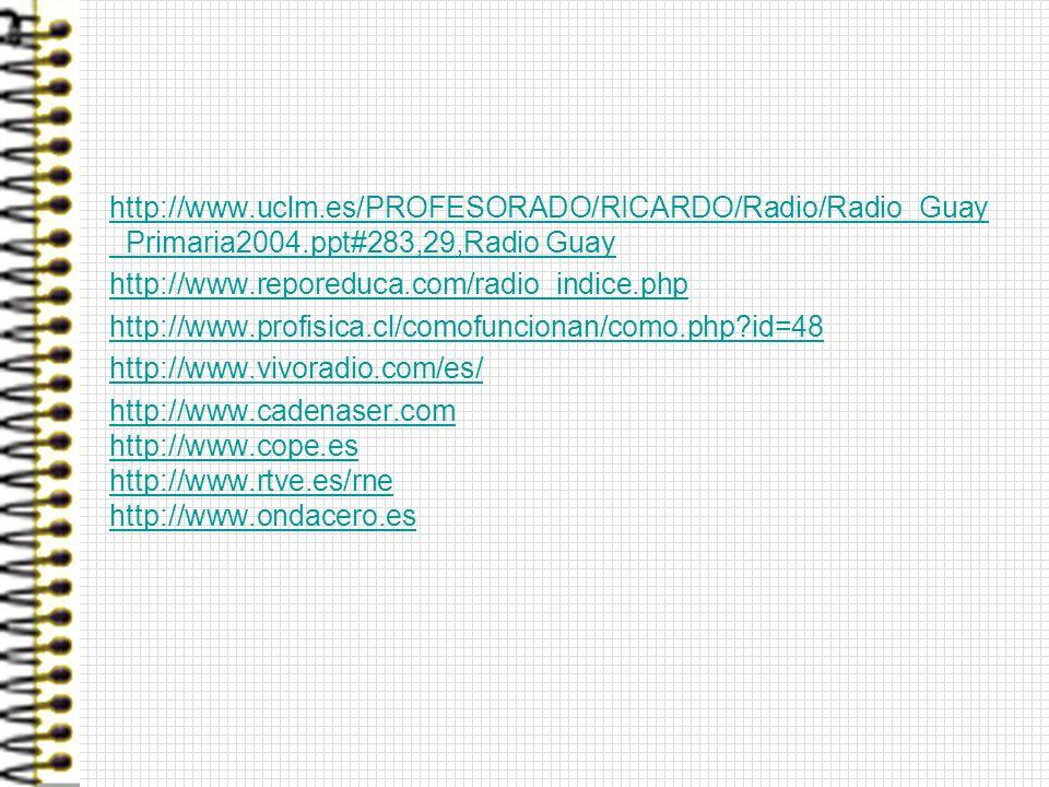 http://www. uclm. es/PROFESORADO/RICARDO/Radio/Radio_Guay_Primaria2004