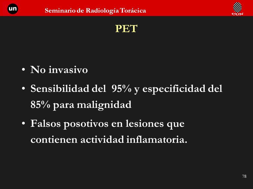 PET No invasivo. Sensibilidad del 95% y especificidad del 85% para malignidad.