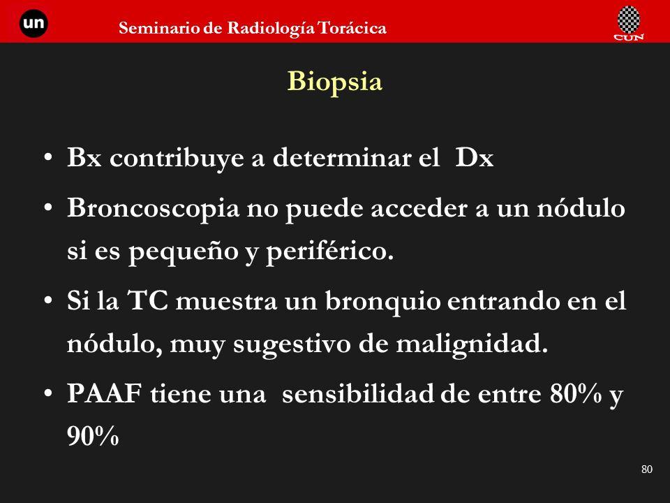 Biopsia Bx contribuye a determinar el Dx. Broncoscopia no puede acceder a un nódulo si es pequeño y periférico.