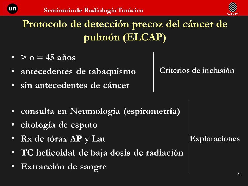 Protocolo de detección precoz del cáncer de pulmón (ELCAP)