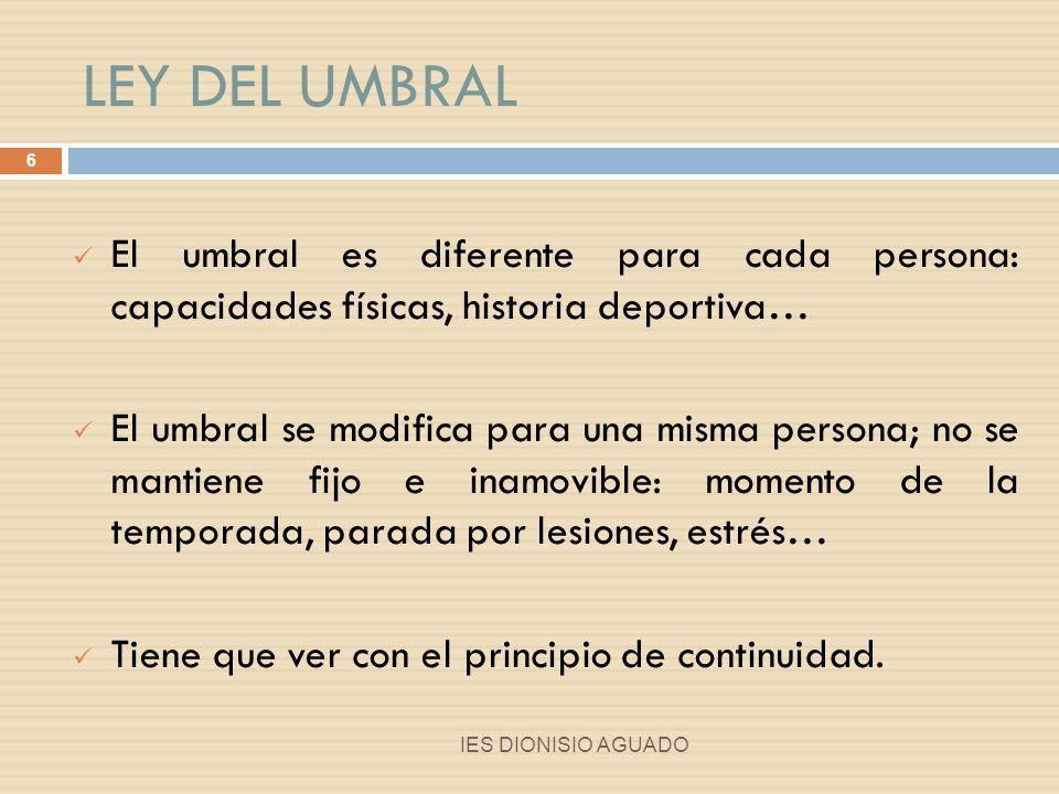 LEY DEL UMBRAL El umbral es diferente para cada persona: capacidades físicas, historia deportiva…