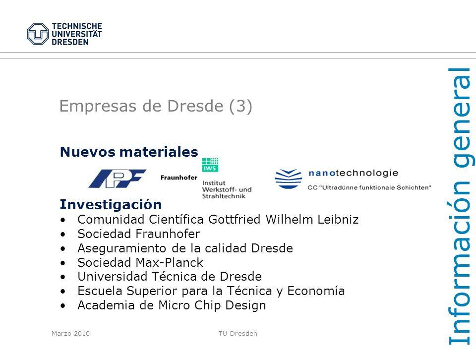 Información general Empresas de Dresde (3) Nuevos materiales