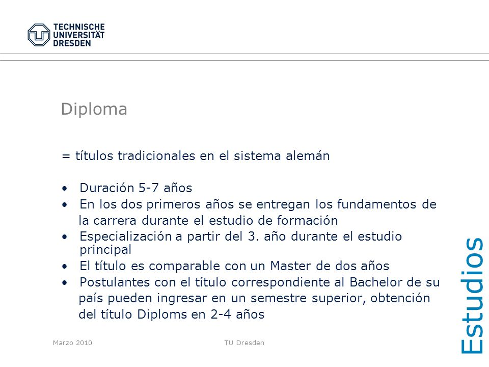 Estudios Diploma = títulos tradicionales en el sistema alemán