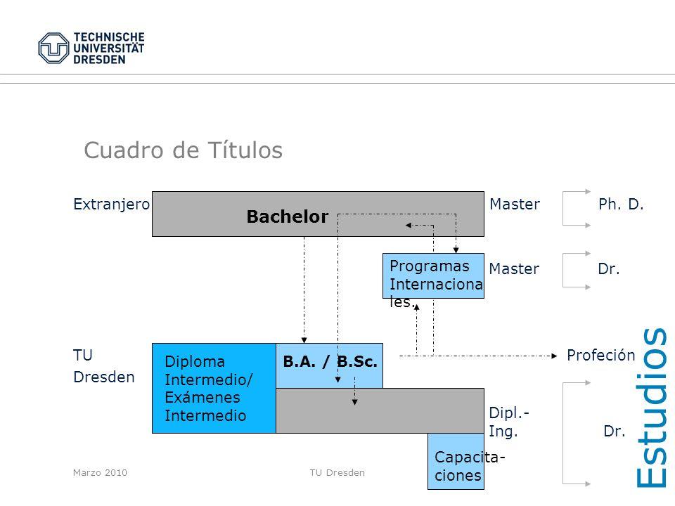 Estudios Cuadro de Títulos Bachelor Extranjero Master Ph. D.