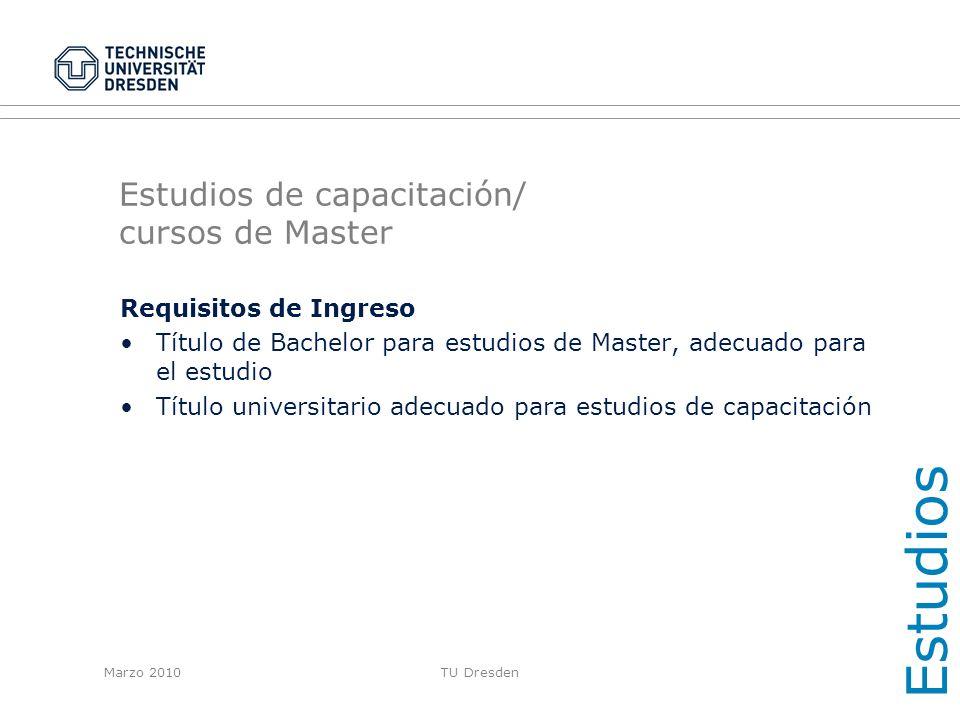 Estudios de capacitación/ cursos de Master