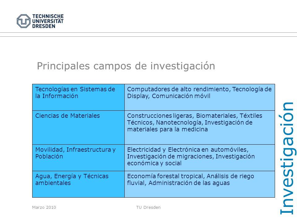 Principales campos de investigación