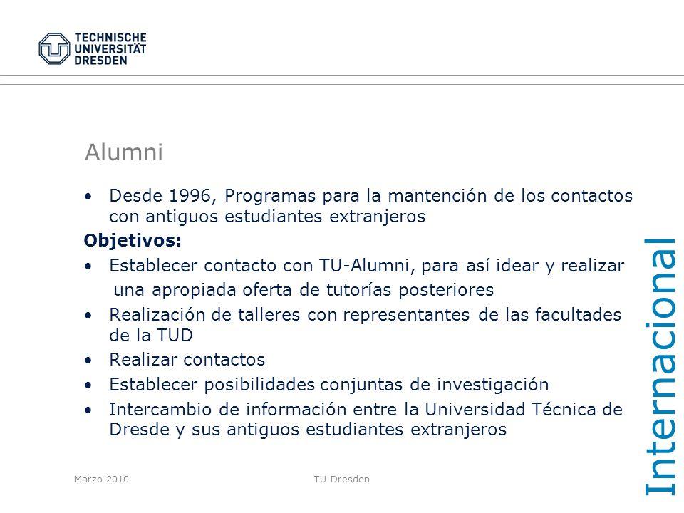 Internacional Alumni. Desde 1996, Programas para la mantención de los contactos con antiguos estudiantes extranjeros.