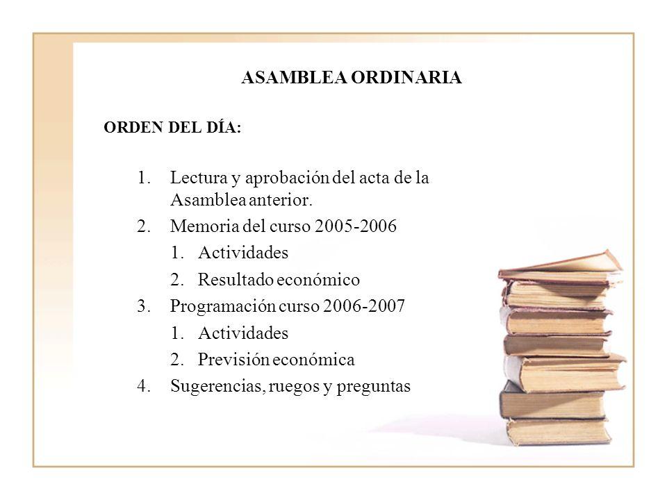 Lectura y aprobación del acta de la Asamblea anterior.