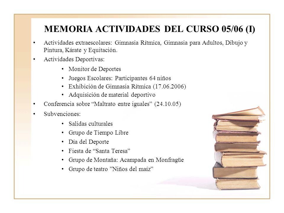 MEMORIA ACTIVIDADES DEL CURSO 05/06 (I)