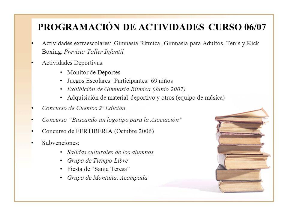 PROGRAMACIÓN DE ACTIVIDADES CURSO 06/07