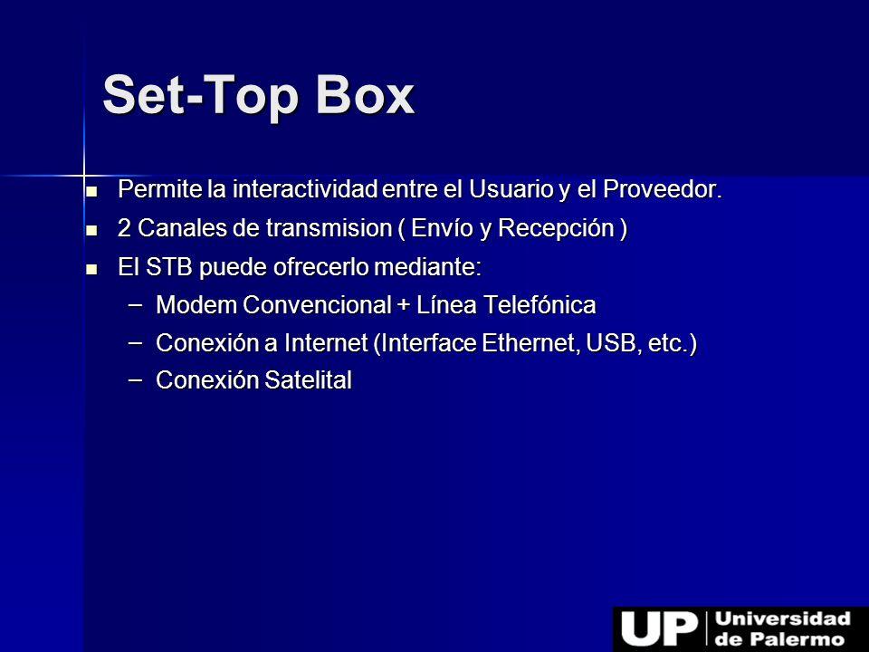 Set-Top Box Permite la interactividad entre el Usuario y el Proveedor.