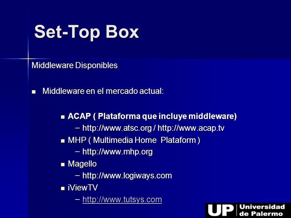 Set-Top Box Middleware Disponibles Middleware en el mercado actual: