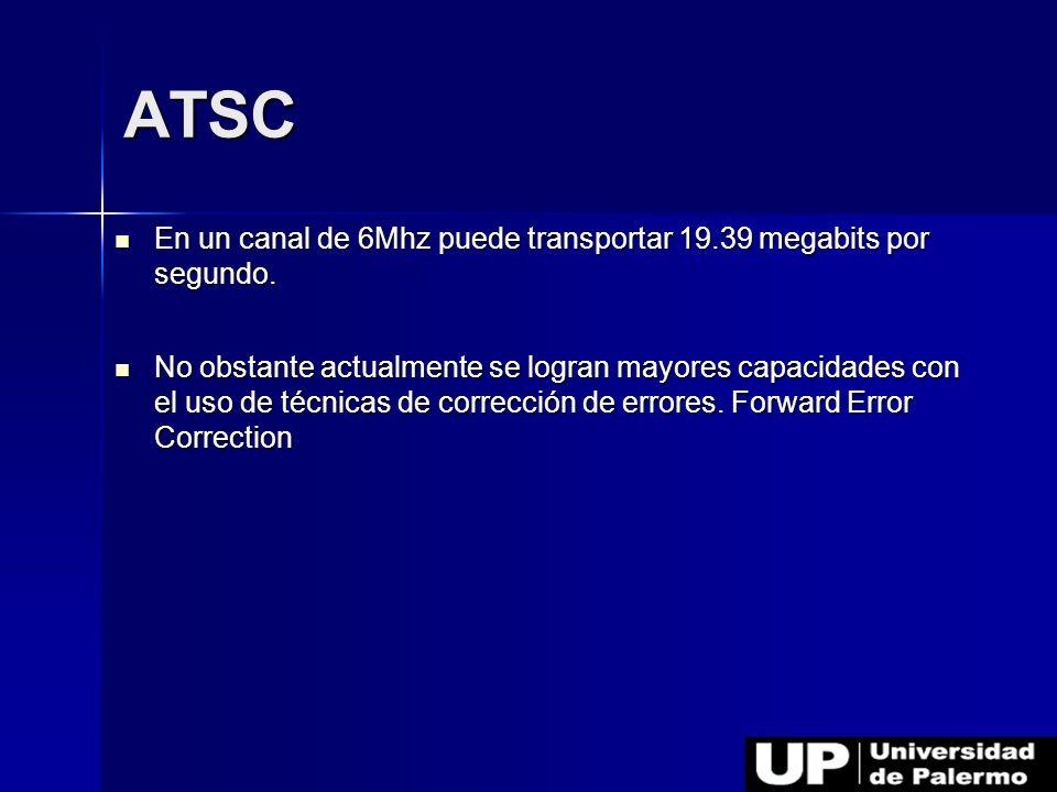 ATSC En un canal de 6Mhz puede transportar 19.39 megabits por segundo.
