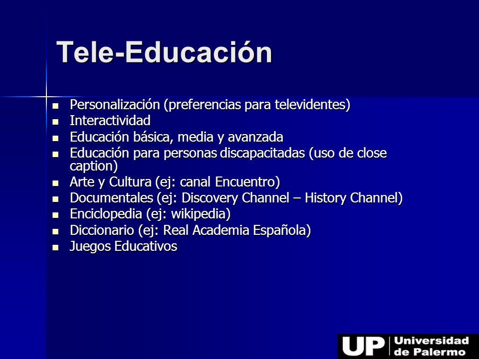Tele-Educación Personalización (preferencias para televidentes)