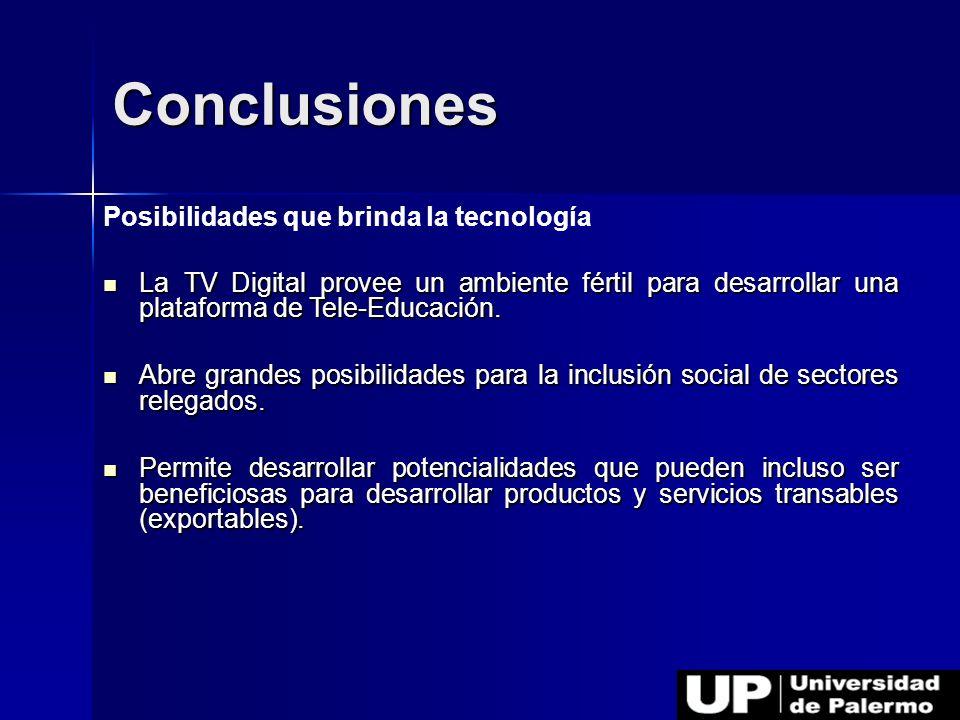 Conclusiones Posibilidades que brinda la tecnología