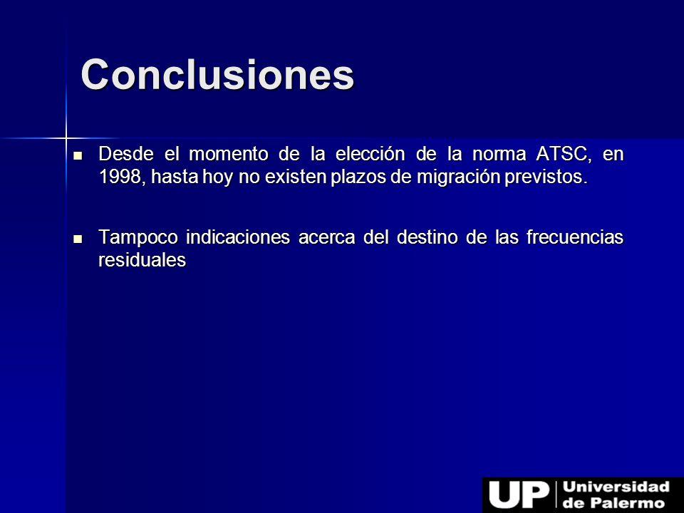 Conclusiones Desde el momento de la elección de la norma ATSC, en 1998, hasta hoy no existen plazos de migración previstos.