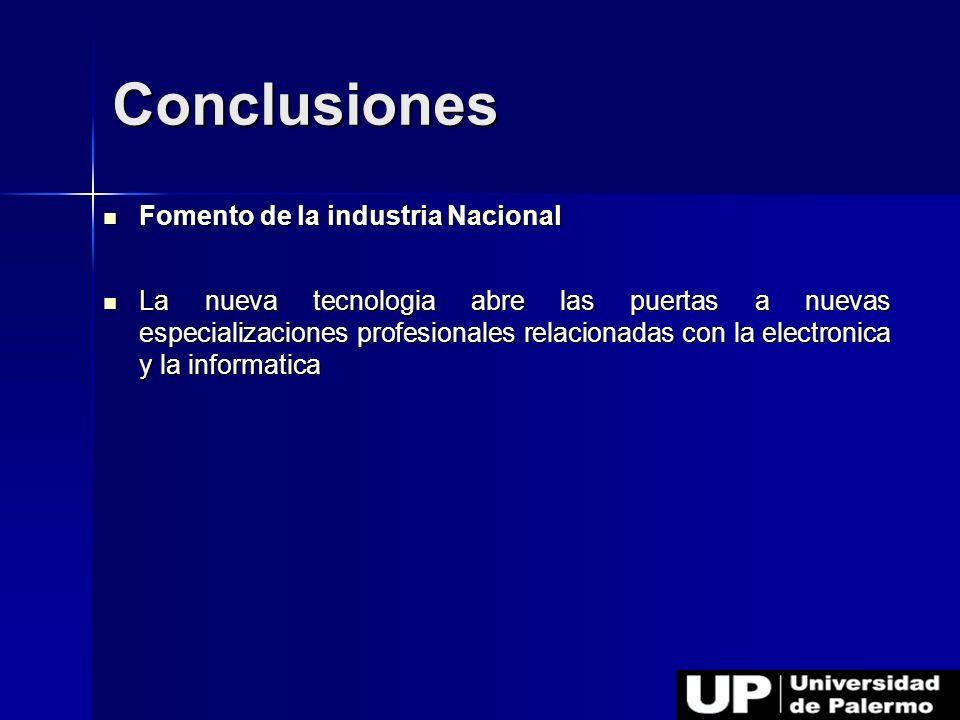 Conclusiones Fomento de la industria Nacional
