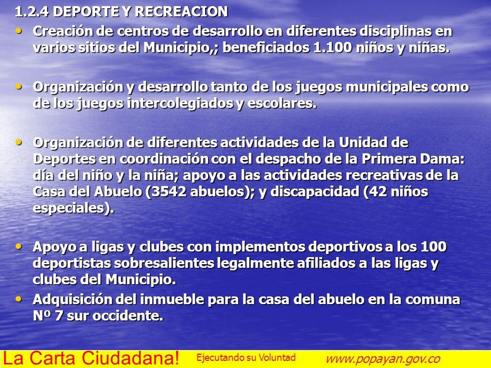 La Carta Ciudadana! 1.2.4 DEPORTE Y RECREACION