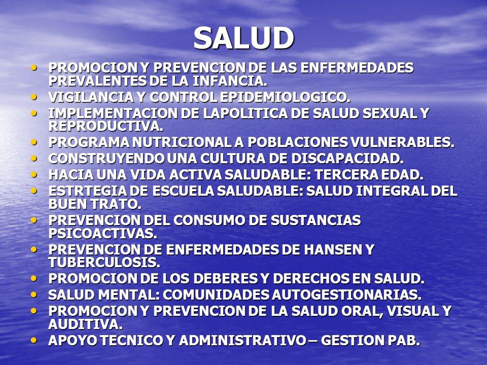 SALUD PROMOCION Y PREVENCION DE LAS ENFERMEDADES PREVALENTES DE LA INFANCIA. VIGILANCIA Y CONTROL EPIDEMIOLOGICO.