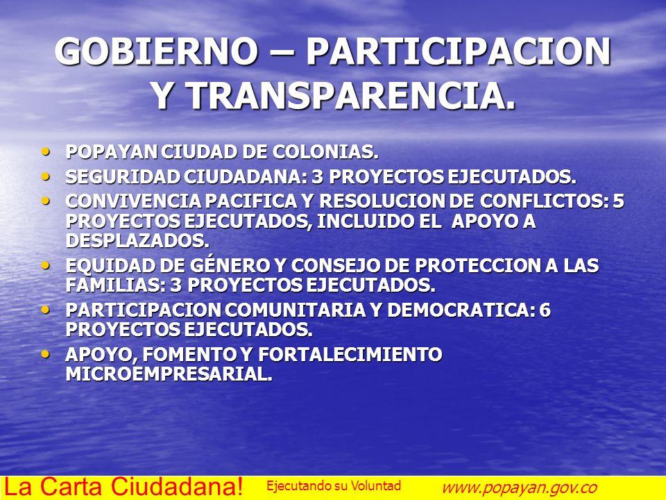 GOBIERNO – PARTICIPACION Y TRANSPARENCIA.