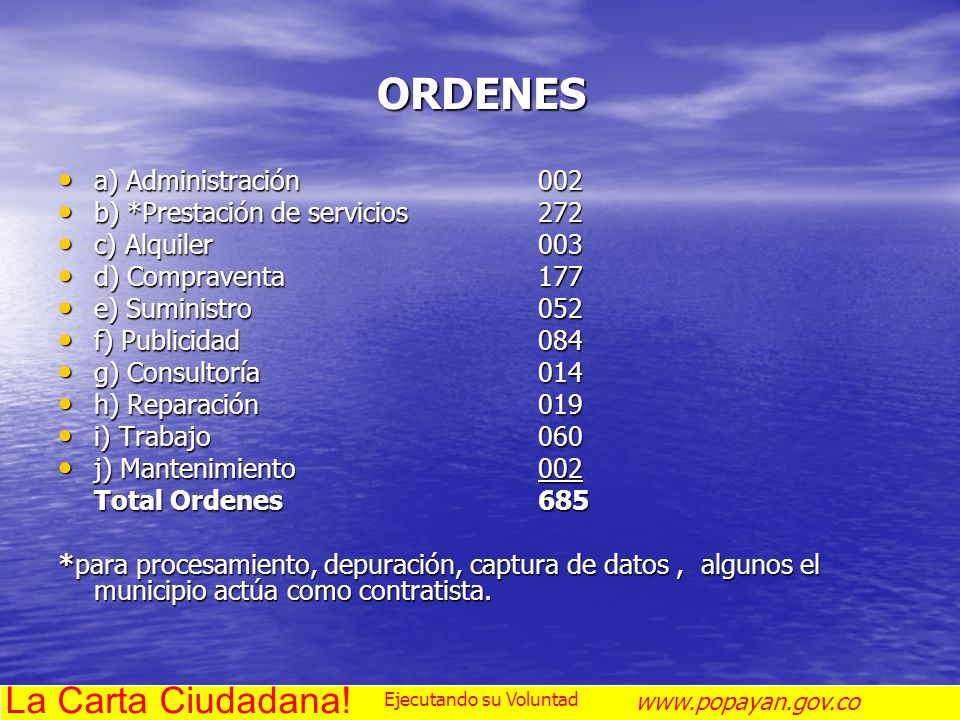 ORDENES La Carta Ciudadana! a) Administración 002