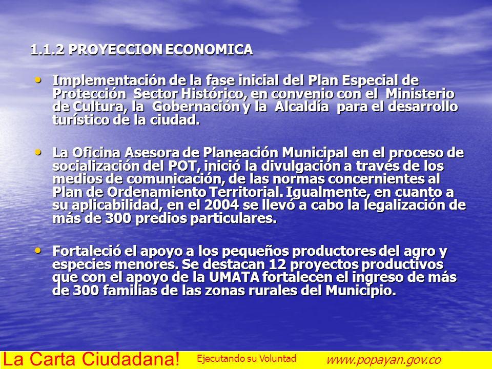 La Carta Ciudadana! 1.1.2 PROYECCION ECONOMICA