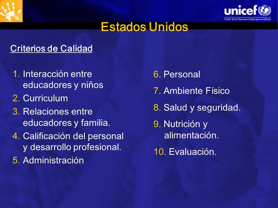 Estados Unidos Criterios de Calidad