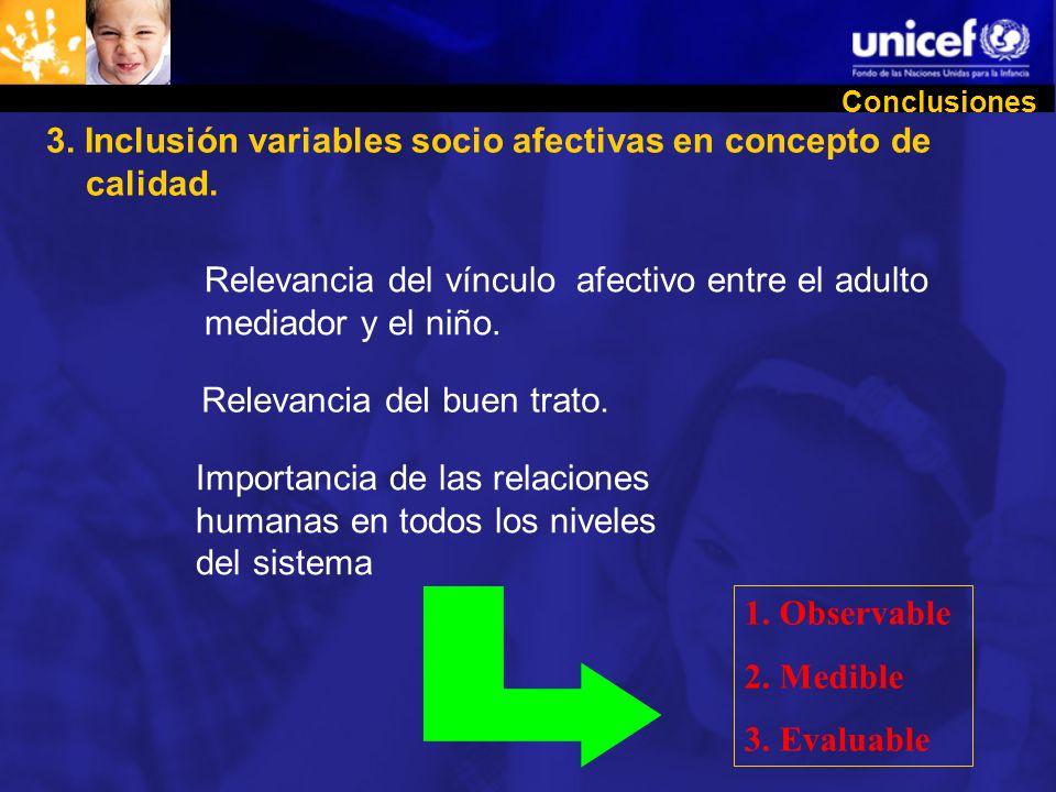 3. Inclusión variables socio afectivas en concepto de calidad.