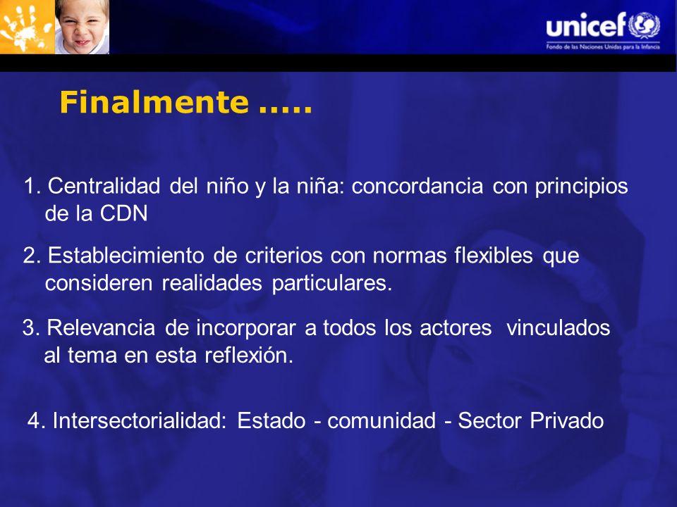 Finalmente ..... 1. Centralidad del niño y la niña: concordancia con principios de la CDN.