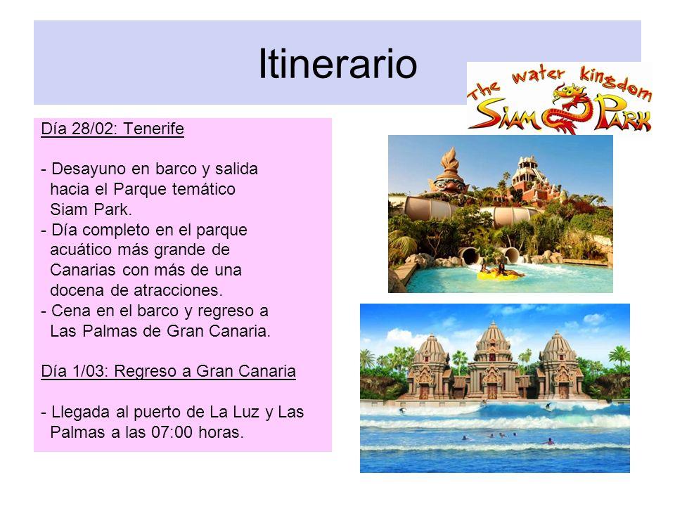 Itinerario Día 28/02: Tenerife - Desayuno en barco y salida