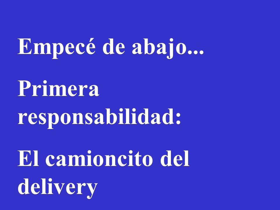 Empecé de abajo... Primera responsabilidad: El camioncito del delivery