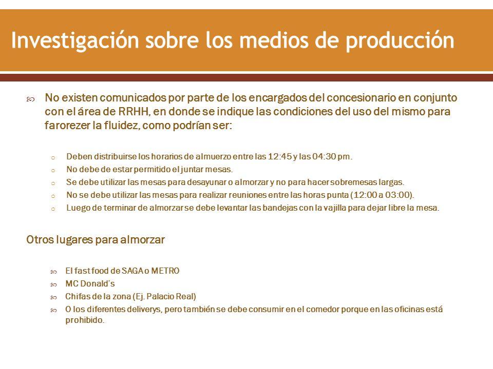 Investigación sobre los medios de producción