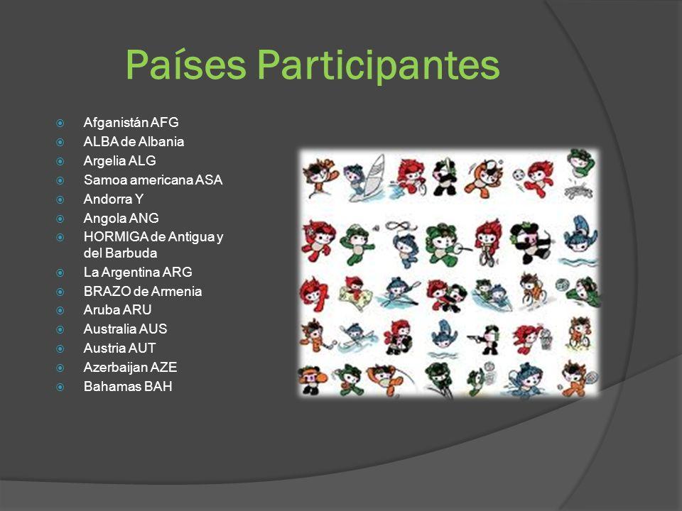 Países Participantes Afganistán AFG ALBA de Albania Argelia ALG