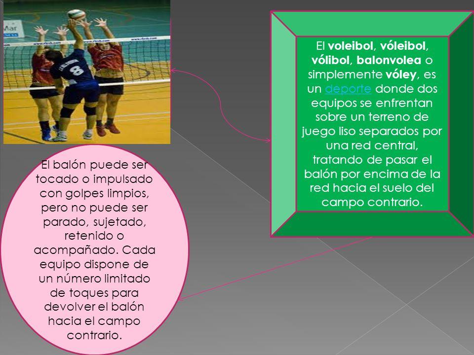 El voleibol, vóleibol, vólibol, balonvolea o simplemente vóley, es un deporte donde dos equipos se enfrentan sobre un terreno de juego liso separados por una red central, tratando de pasar el balón por encima de la red hacia el suelo del campo contrario.