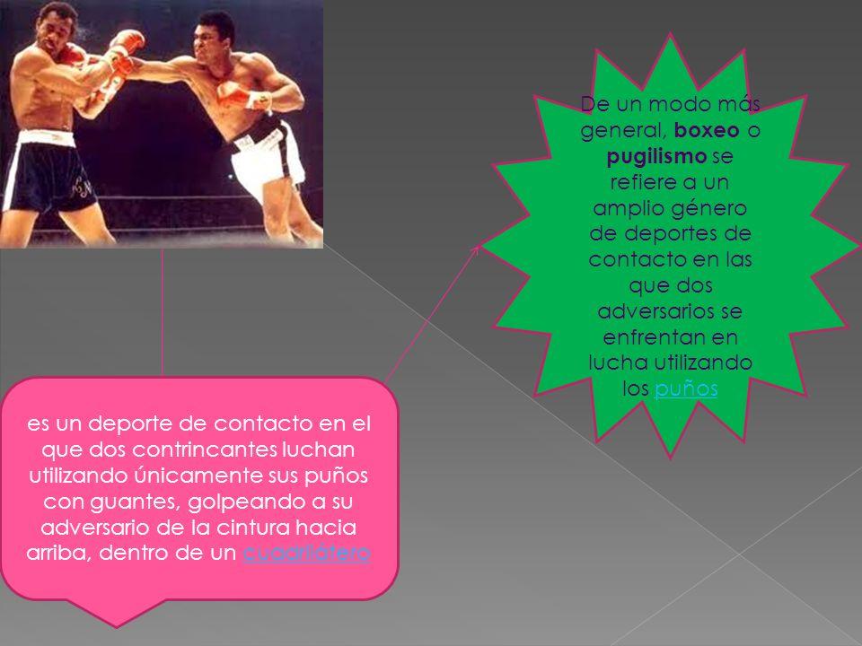 De un modo más general, boxeo o pugilismo se refiere a un amplio género de deportes de contacto en las que dos adversarios se enfrentan en lucha utilizando los puños