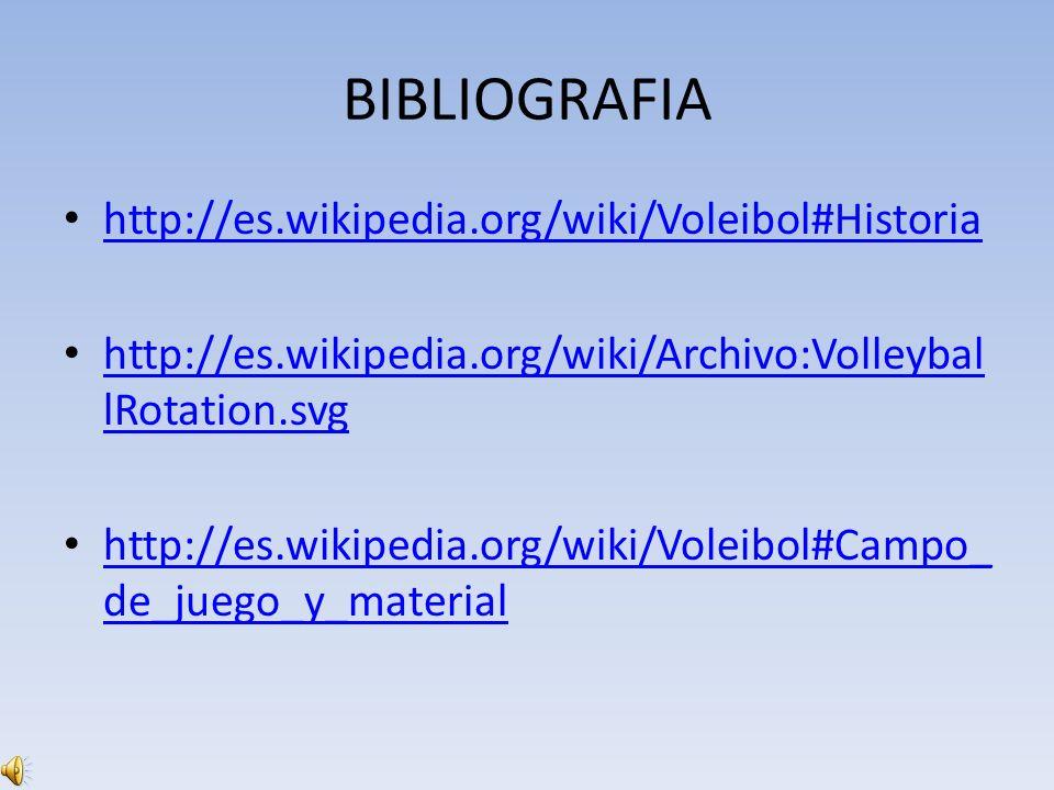 BIBLIOGRAFIA http://es.wikipedia.org/wiki/Voleibol#Historia